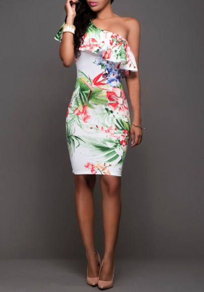 White Flowers Print Ruffle Asymmetric Shoulder One-shoulder Bodycon Homecoming Midi Dress