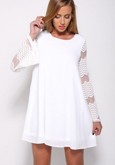 White Patchwork Grenadine Draped See-through A-line Flare Sleeve Fashion Mini Dress