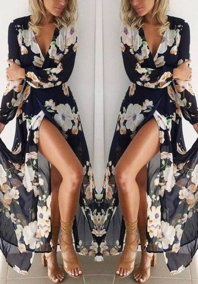 Vestido largo escote profundo floral manga larga bohemio negro