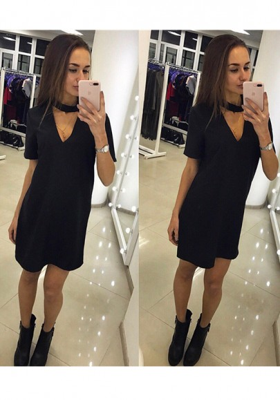 Black Deep V Short Sleeve Casual Mini Dress