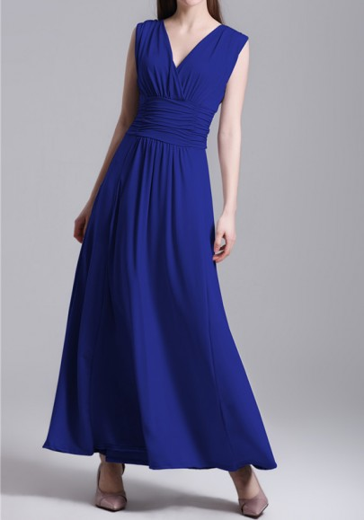 Blue Backless Draped V-neck Sleeveless Elegant Maxi Dress