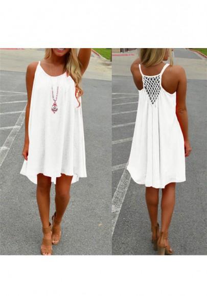 Mini-robe en mousseline bretelle mode boho d'été mince lâche blanc