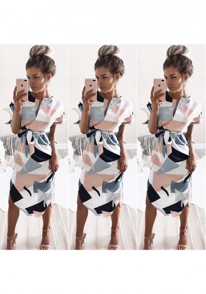 Robe midi bloc de couleurs écharpe géométriquev-col blanc