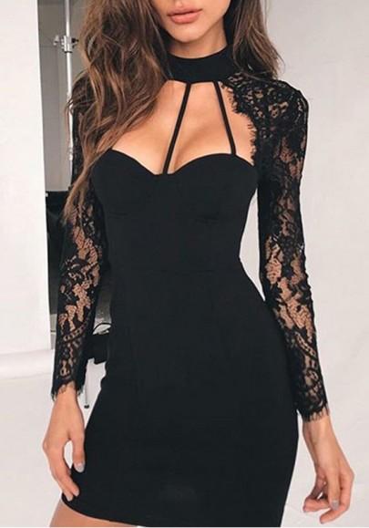 Black Patchwork Lace Cut Out Long Sleeve Mini Dress