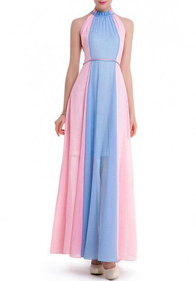 Pink-Blue Buttons Hollow-out Off-Shoulder Band Collar Maxi Dress
