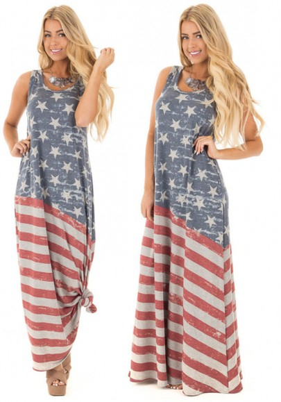 Grey Starts And Striped Draped American Flag Print A-line Distressed Casual Maxi Dress