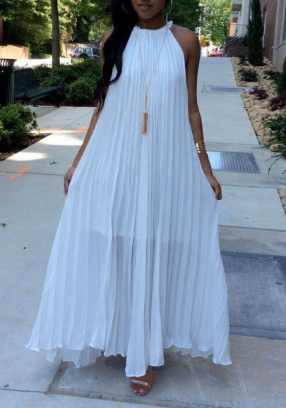 White Pleated Tie Back Sleeveless Halter Neck A-line Boho Maxi Summer Dress