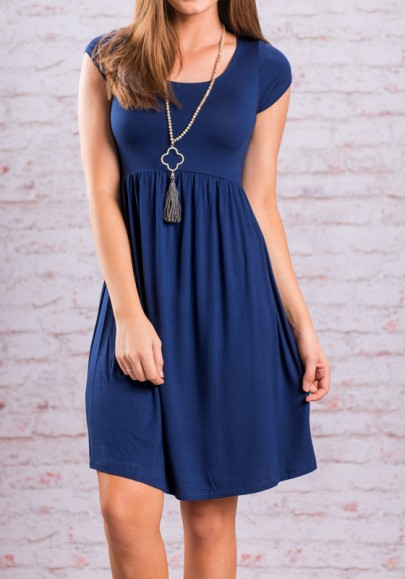 06be5cd4bf Dark Blue Draped Round Neck Short Sleeve High Waisted Casual Midi Dress