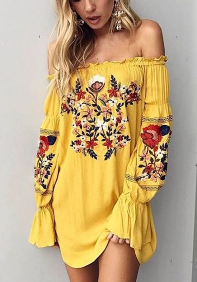 Yellow Gypsy Floral Ruffle Embroidery Off Shoulder Homecoming Party Mexican Boho Mini Dress