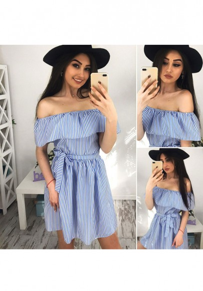 0f0cbcfc4fede Blue-White Striped Ruffle Sashes Off Shoulder Casual Mini Dress ...