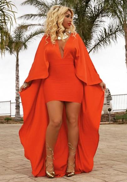 Orange Draped Deep V-neck Dolman Sleeve Mini Dress With Maxi Cloak