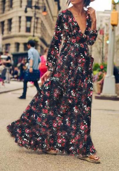 Longue robe imprimé à fleurs décolleté plongeant manches longues boheme bleu foncé