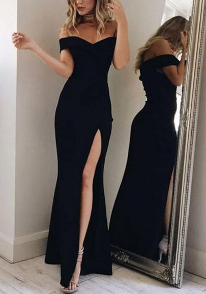 Black Mermaid Off Shoulder Irregular Side Slit Boat Neck Prom Elegant Maxi Dress