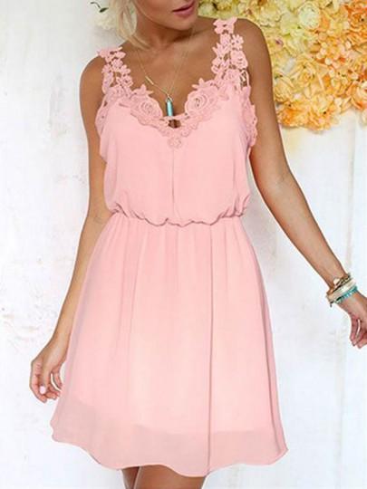 Robe courte avec dentelle taille élastique v-cou sans manches mode doux rose