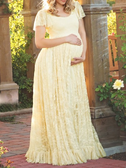 Yellow Patchwork Lace Draped Ruffle Comfy Plus Size Maternity Maxi Dress