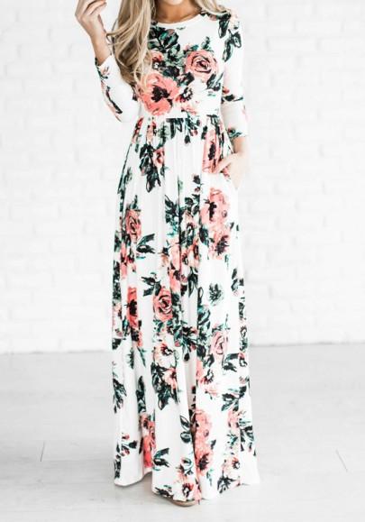 Vestido largo floral cubierto cuello redondo manga larga bohemio blanco