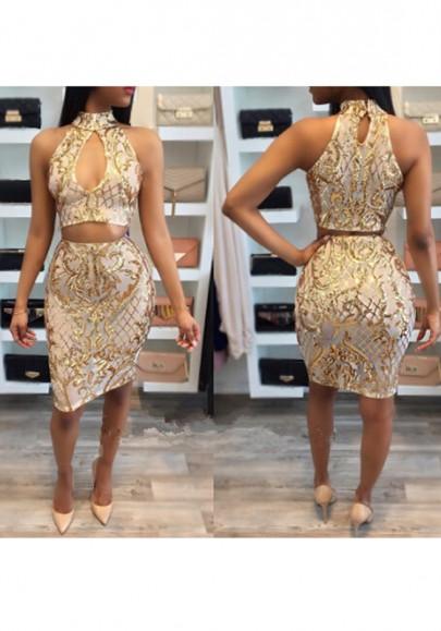 Golden Sequin Halter Neck Band Collar Crop Vegas Club Bodycon Midi Dress