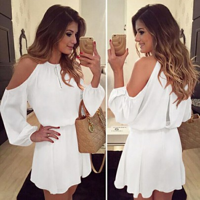 White Cut Out Draped Round Neck Long Sleeve Casual Loose Midi Dress