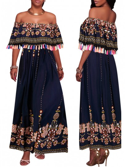 Navy Blue Tribal Print Embroidery Ruffle Tassel Backless Off Shoulder Mexican Maxi Dress