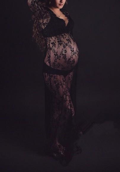 Black Lace Grenadine Plus Size Deep V-neck Comfy Maternity Maxi Dress