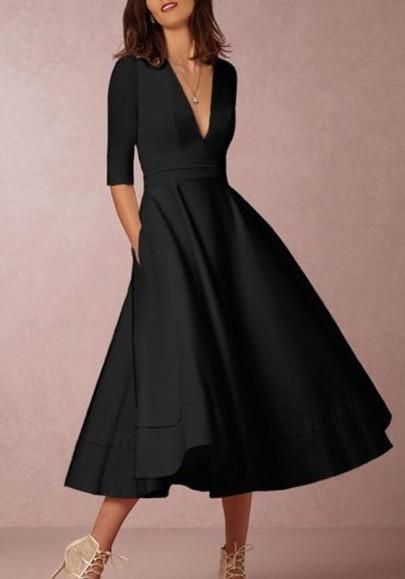Schwarzes Tiefer V-Ausschnitt Fünfte Ärmel Drapiert Elegant Maxikleid Ballkleid Abendkleid Lang