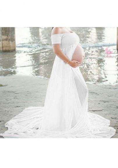 Robe maxi bandeau drapée devant sans dos fessée épaule maternité blanc