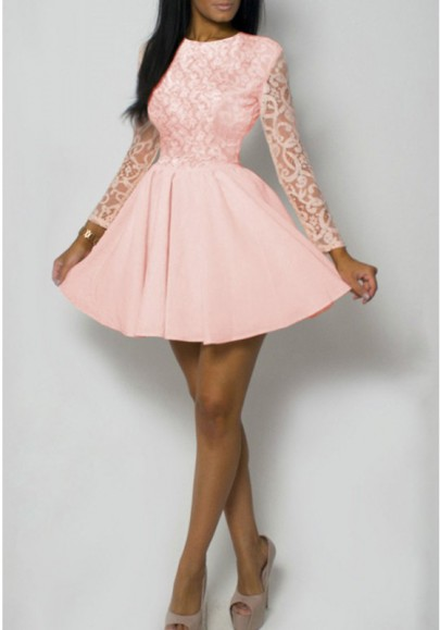 Pink Patchwork Floral Lace Long Sleeve High Waisted Cute Homecoming Party Mini Dress