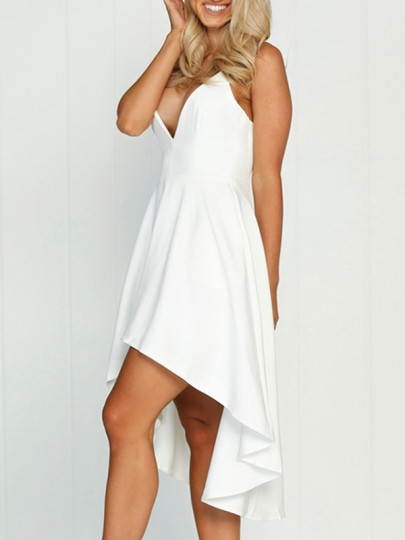 White Draped Swallowtail High-low Spaghetti Strap Deep V-neck Homecoming Party Midi Dress