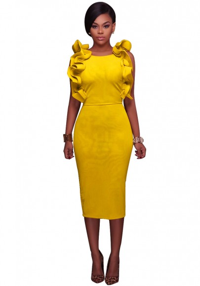 Yellow Ruffle Slit Backless Bodycon Round Neck Elegant Party Pencil Midi Dress