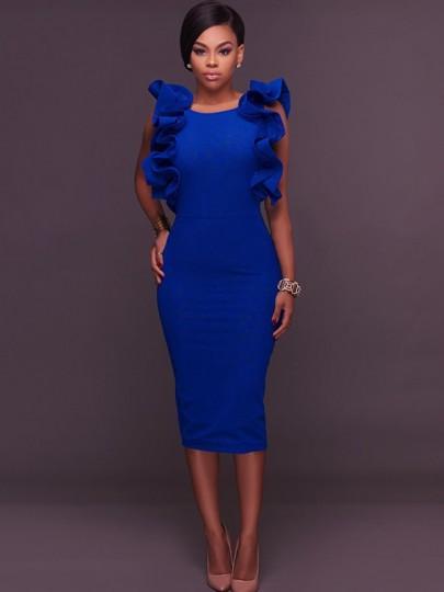 Royal Blue Ruffle Slit Backless Bodycon Round Neck Elegant Party Pencil Midi Dress