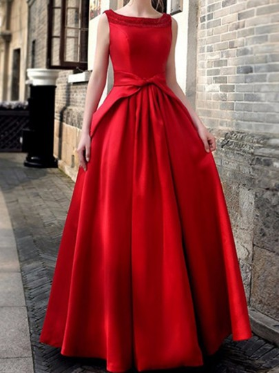 Red Plain Cut Out Round Neck Vintage Maxi Dress