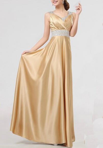 Robe longues avec paillette drapé v-cou élégant de soirée dorée