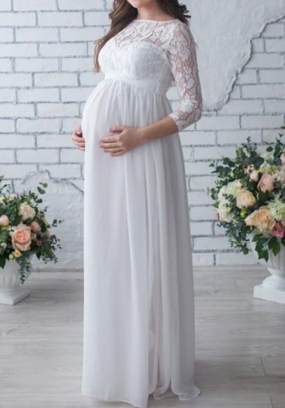 Robe longue de maternité avec dentelle drapé manches longues élégant de soirée blanc