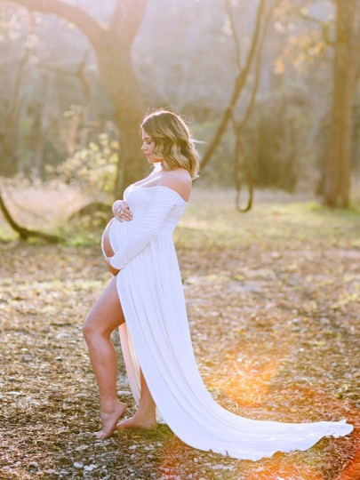 White Patchwork Chiffon Draped Off-shoulder Long Sleeve Elegant Pregnant Maternity Maxi Dress