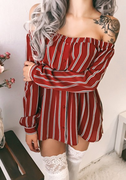 Rot Gestreift Drucken Bootshals Langarm Beiläufig Mini Kleid