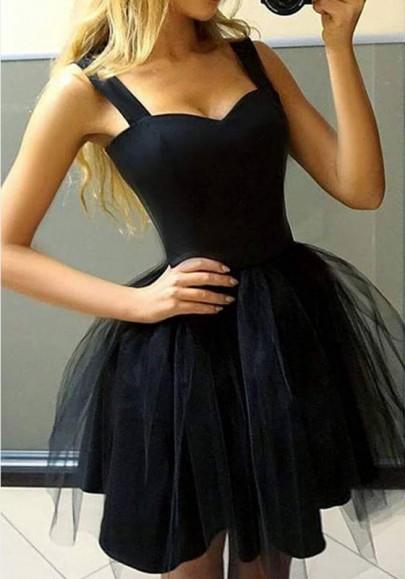 Mini-robe tutu tulle plissé sans manches élégant de soirée noir