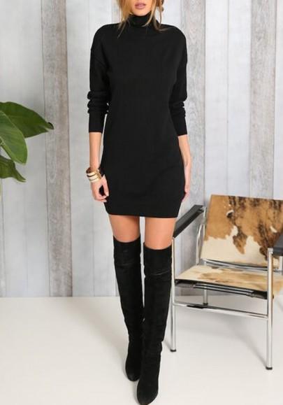 Mini vestido cuello alto manga larga moda delgada negro