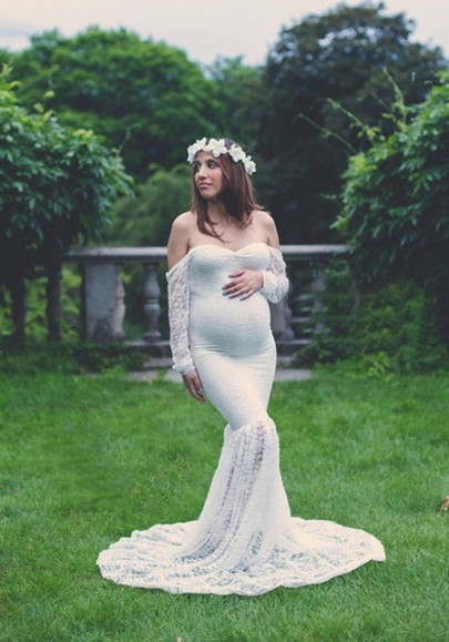 White Patchwork Lace Off Shoulder Mermaid Maternity Long Sleeve Maxi Dress