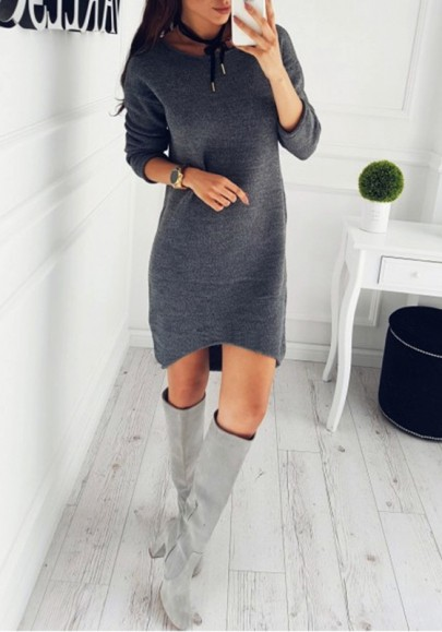 Pull robe en tricot manches longues ample mode femme gris