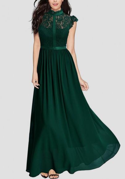 Maxi vestito chiffona di pizzo elegante drappeggiato con cerniera in pizzo verde
