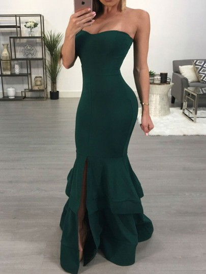 Green Bandeau Slit Cascading Ruffle Backless Mermaid Prom Evening Party Maxi Dress