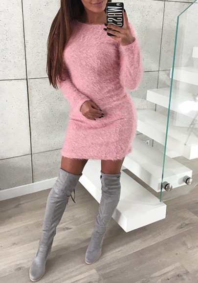 Pink Round Neck Long Sleeve Fashion Bodycon Sweater Mini Dress