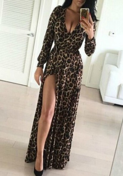 Kaffee Leopard Drucken Schlitz Seite Tiefer V-Ausschnitt Maxikleid Abendkleid Partykleider