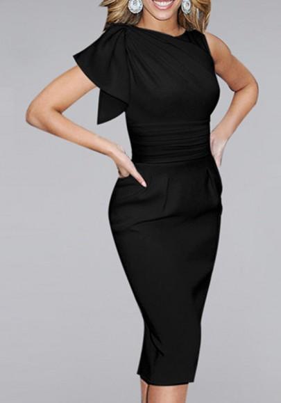 Midi-robe irrégulière sans manches mode noire