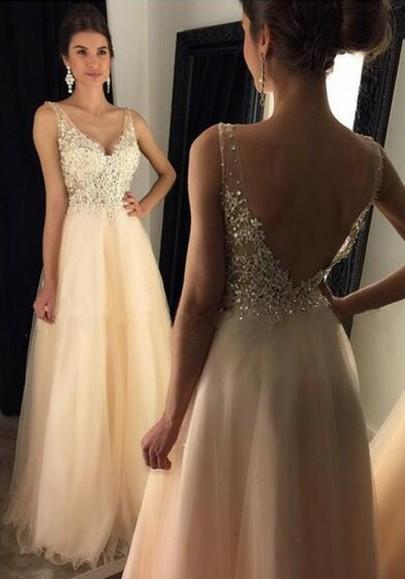 Tulle robe paillette longue dos nu v-cou sans manches élégant de soirée champagne or