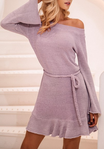 Light Purple Sashes Off Shoulder Backless Long Sleeve Sweater Mini Dress