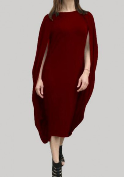 Burgundy Irregular Cloak Oversized Round Neck Dolman Sleeve Party Midi Dress