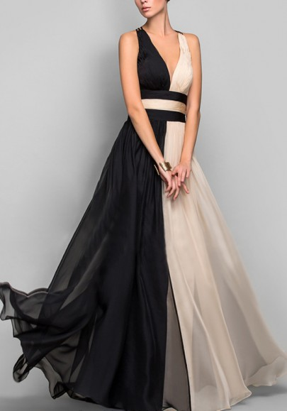 Black-Khaki Patchwork Grenadine Draped Deep V-neck Prom Banquet Evening Party Maxi Dress
