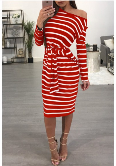 Red Striped Asymmetric Shoulder One Off Shoulder Lace-Up Bodycon Casual Midi Dress