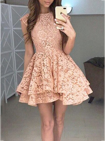 Pink Floral Lace High Waisted Cap Sleeve Skater Tutu Homecoming Party Mini  Dress. Pink Lace Pleated Sleeveless Fashion Cocktail Party Mini Dress 8d29d9312